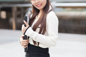 Happly asian businesswoman