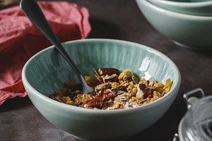 Muesli with dried berries and pecan