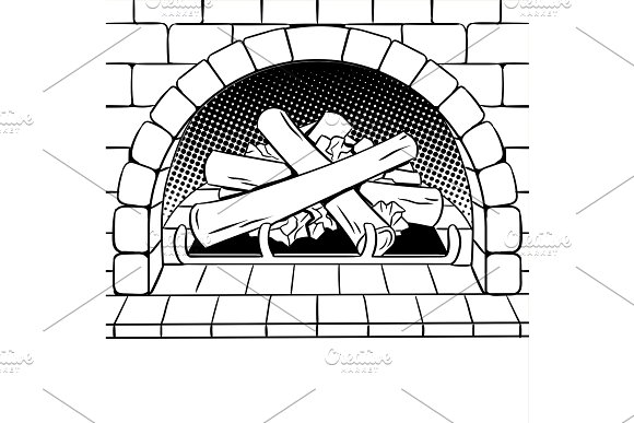 Fireplace coloring book vector in Illustrations