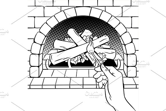 Fireplace match hand coloring book vector in Illustrations