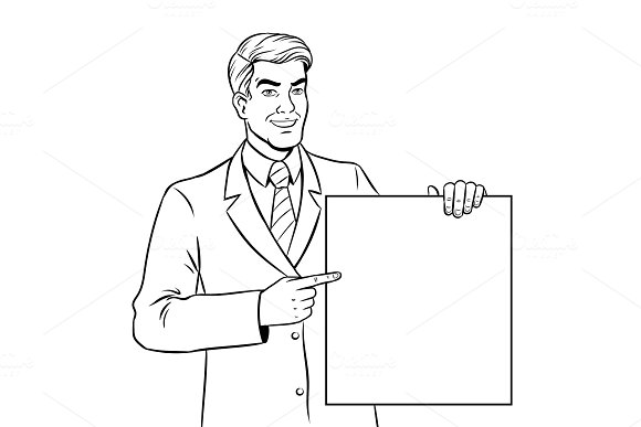 Businessman holds poster coloring book vector