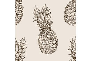 Pineapple seamless pattern engraving vector