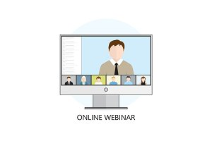 Flat design colorful vector illustration concept for webinar, on
