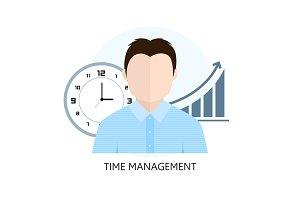 Flat design colorful vector illustration concept for time manage