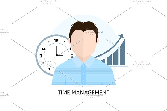 Flat Design Colorful Vector Illustration Concept For Time Manage