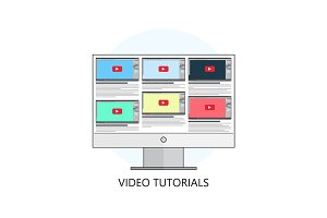 Flat vector illustration.Video tutorials. Study and learning con