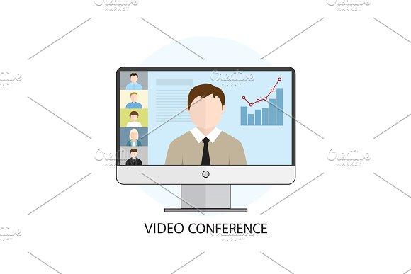 Flat Design Colorful Vector Illustration Concept For Video Confe
