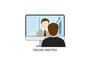 Flat design Colorful Vector Illustration Concept for Online Meet