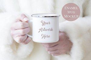 Mug Muckup-Woman holding Enamel Mug