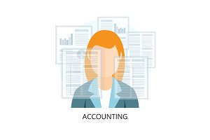 Accounting Icon with businesswoman
