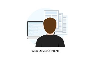 Web Development Icon Flat Design