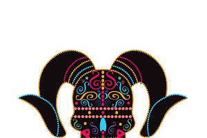 Devil skull colored, PNG vector file