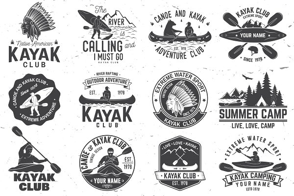 Canoe and kayak club badges