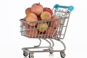 Supermarket trolley with litchi.