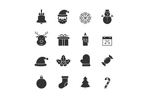 Christmas black icons set