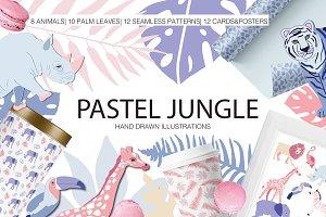 Pastel Jungle Illustration set