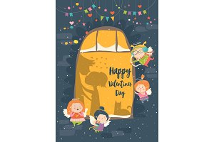 St.Valentine card with cupid and couple