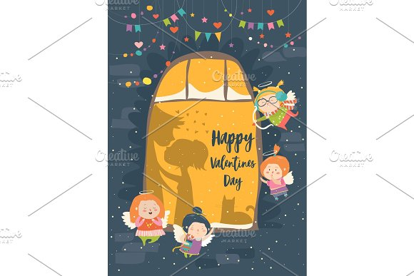 St.Valentine card with cupid and couple in Illustrations