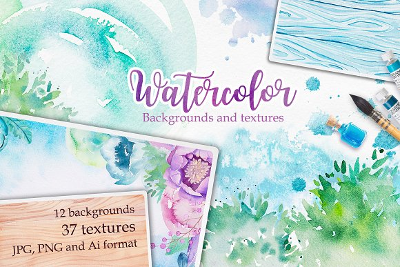 Watercolor textures-Graphicriver中文最全的素材分享平台