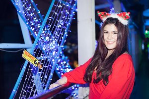 Woman wearing Santa