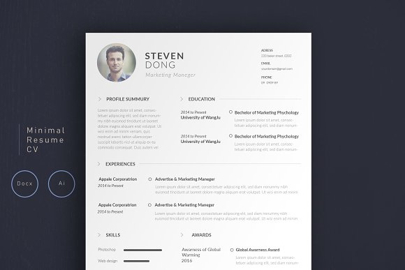 Minimal Resume CV | Simple -Graphicriver中文最全的素材分享平台
