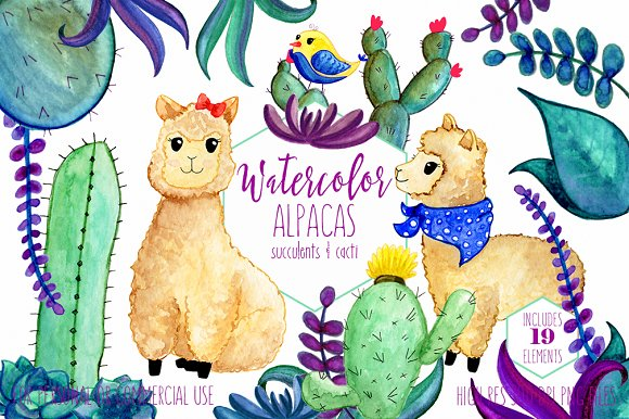 Watercolor Llamas & Cactus Clipart