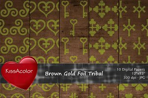Brown Gold Foil Tribal Patterns