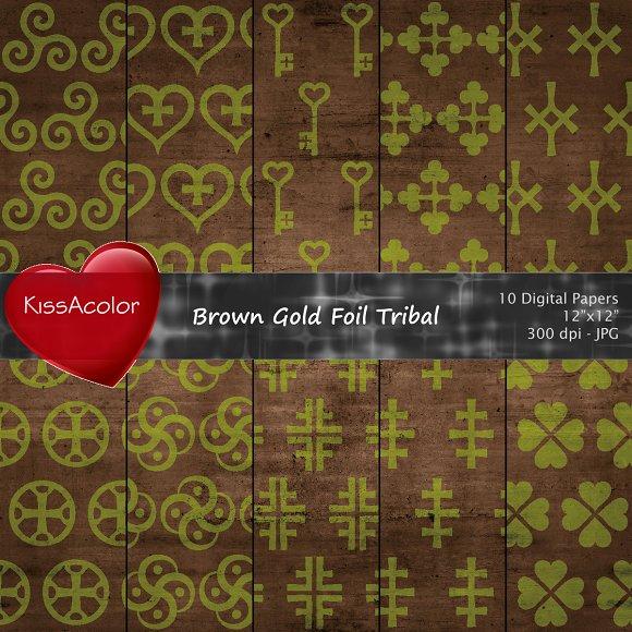 Brown Gold Foil Tribal Patterns