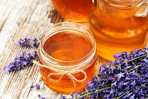 Jars of honey and lavender
