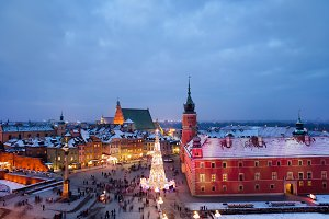 Old Town of Warsaw on Winter Night