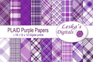 Purple Plaid Digital Paper Pack