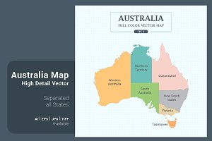 Australia Map Separated States