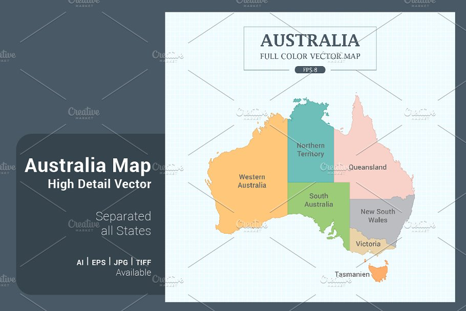 Map Of States Of Australia.Australia Map Separated States Illustrations Creative Market