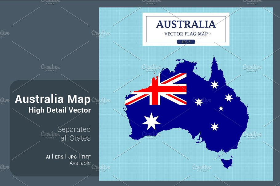 Australia Map Vector With States.Australia Map Separated States Illustrations Creative Market