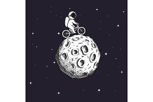 Cute astronaut rides on bicycle at the Moon