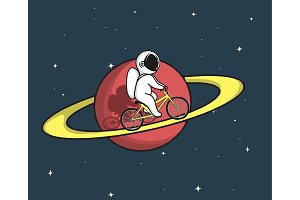 Cute astronaut rides on bicycle at the Saturn