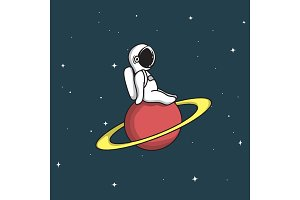 Cute astronaut sits on Saturn