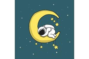 Baby astronaut sleeps on crescent moon
