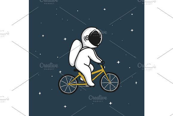 Funny Astronaut Rides On Bicycle