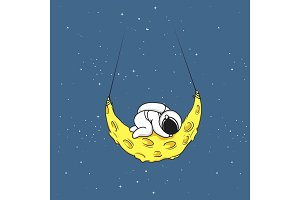 Cute astronaut sleeps on crescent moon
