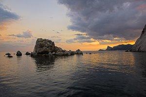 Sunset on the Black Sea coast.