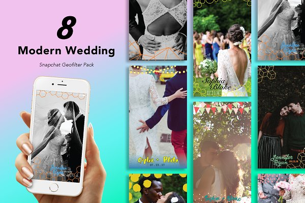 Snapchat Templates: Uno Bello Design Studio - 8 Modern Wedding Geofilters Pack