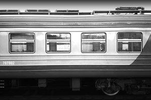 Horizontal black and white train background