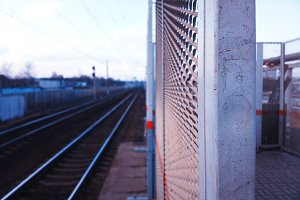 Railroad station bokeh city background