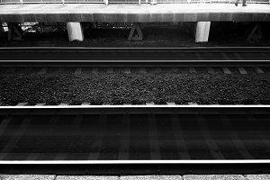 Horizontal black and white railway background