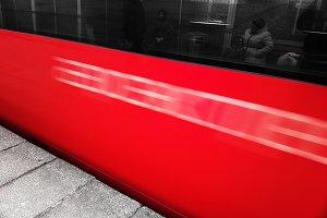 Diagonal rushing red train background