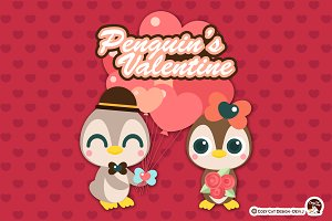 Digital Clipart Penguin's Valentine
