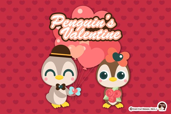 Penguin Valentine Digital Clipart