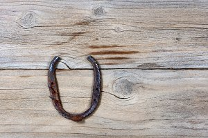 Lucky Horseshoe on rustic wood
