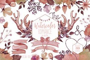 Rustic Floral Deer Antler Graphics